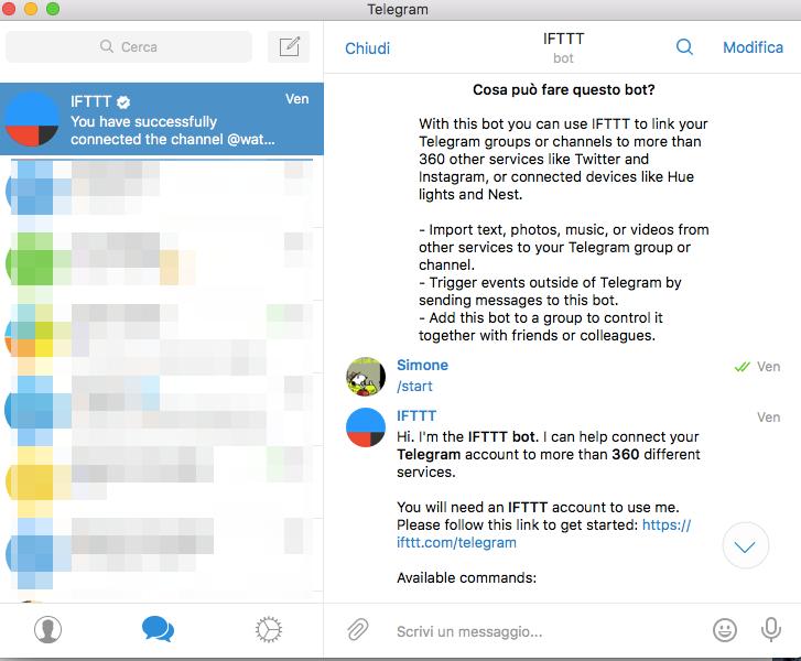 Add ifttt bot to telegram channel. see telegram channel as website.